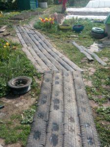Садовая дорожка из шин